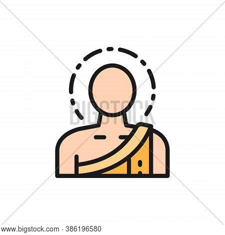 Buddha, Buddhist Monk Flat Color Line Icon.
