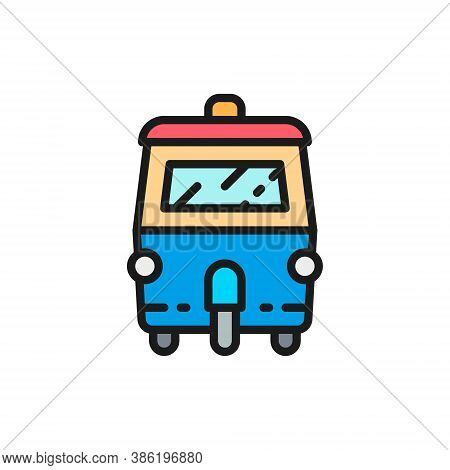 Tuk Tuk Car, Traditional Public Transport In Thailand Flat Color Line Icon.