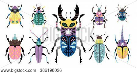 Colorful Beetles. Cartoon Macro Image Of Cute Small Bugs, Set Of Creature Of Entomology Science, Vec