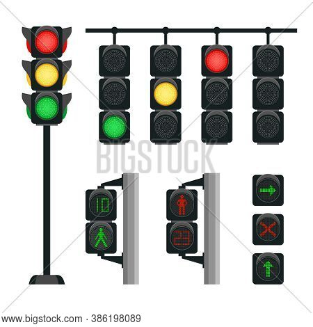 Realistic Traffic Lights. Safety Signals For Driving Transport On Intersection Of Street In City, Ve