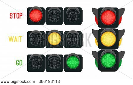 Traffic Lights Concept. Safety Signals For Driving Transport In City, Urban Safety With Semaphores,
