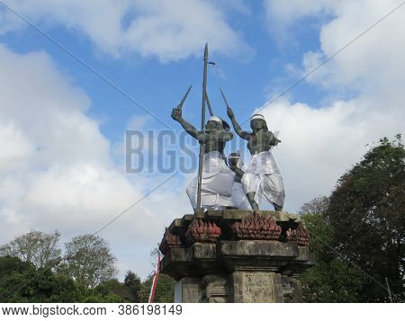 Denpasar, Indonesia - September 28, 2019: Puputan Badung Monument On Puputan Square. This Monument I