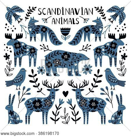 Nordic Animals. Cute Wild Creatures, Bear And Deers Image Between Branches And Berries, Vector Illus