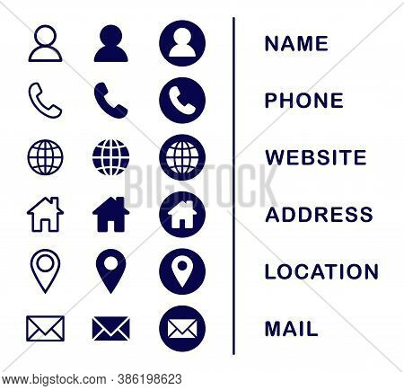 Company Connection Business Card Icon Set. Phone, Name, Website, Address, Location And Mail Logo Sym