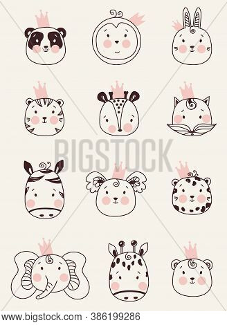 Cute Animals. Set Of Decorative Portraits Of Animals In Crowns - Rabbit And Panda, Penguin And Tiger