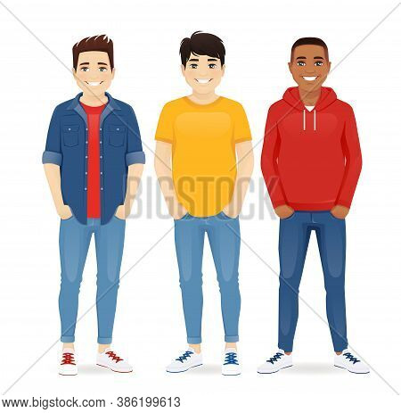 Multiethnic Men Friends. Three Different Male Faces. Asian, African And Caucasian Standing Isolated