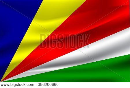 Realistic Waving Flag Of Republic Of Seychelles. Fabric Textured Flowing Flag Of Seychelles.