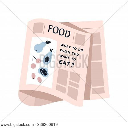 Weekly Or Daily Newspaper Sheet With Picture And Text Vector Flat Illustration. Blank Of Healthy Nut