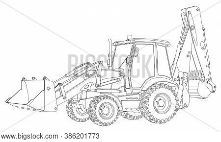 Tractor With Additional Options. Tractor In Lines. Vector Illustration On White Background.