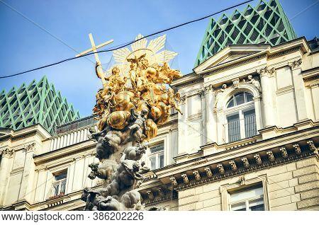 Wien, Austria - The Plague Column Or Pestsäule Or The Column Of The Pest N Graben Street. Details
