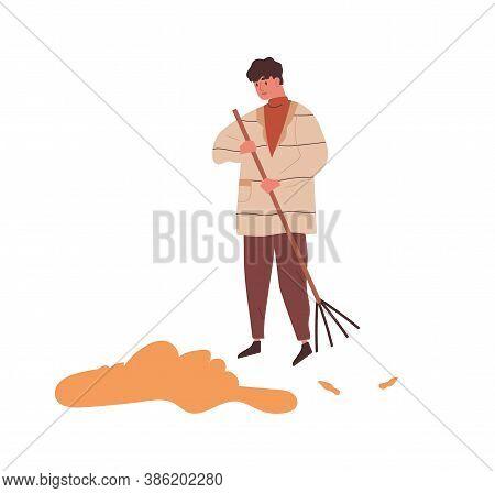 Man Raking Heap Of Autumn Leaves Use Rake Vector Flat Illustration. Male Sweeping Fall Dry Yellow Fo