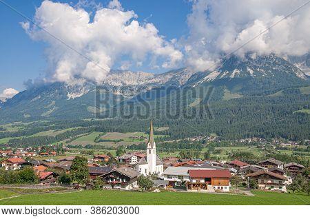 Village Of Ellmau In Tirol At Kaisergebirge Mountain,austria