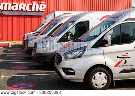 Bordeaux , Aquitaine / France - 09 15 2020 : Intermarche Location Sign Logo On Several Van Rental Ma