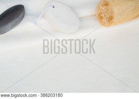 Top View Flatlay Soft White Towel Background For Organic Natural Body And Foot Scrub And Exfoliating