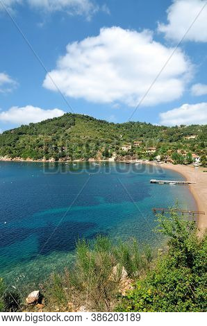 Beach And Village Of Bagnaia On Island Of Elba,tuscany,mediterranean Sea,italy
