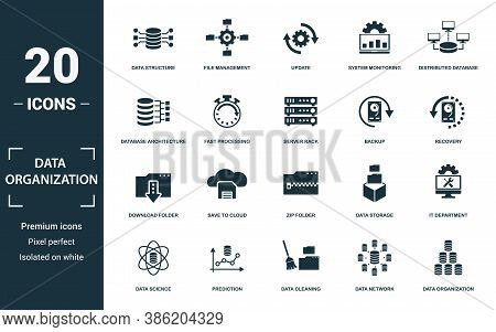 Data Organization Icon Set. Collection Of Simple Elements Such As The Data Structure, File Managemen