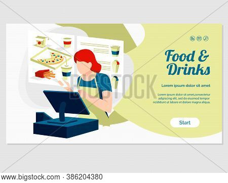 Food And Drinks Landing Page. Traditional Fast Food Dishes Online Ordering And Express Delivery Serv