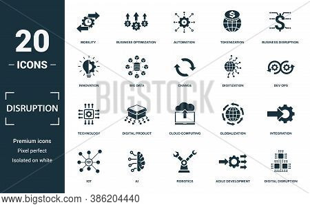 Disruption Icon Set. Monochrome Sign Collection With Innovation, Big Data, Change, Digitization And