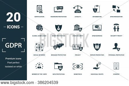Gdpr Icon Set. Monochrome Sign Collection With Certification, Password Protection, Legality, Informa