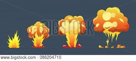 Cartoon Explosion Animation Frames For Game. Boom Storyboard Comics Design. Hand Drawn Vector Illust