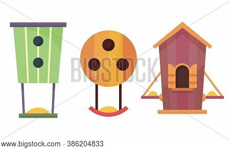 Bird Houses. Cartoon Vector Birdhouse Or Wooden House For Birds. Set Of Hanging Nesting Boxes For Ga