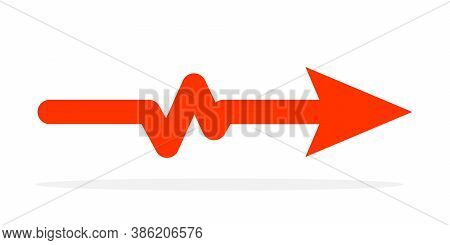Red Arrow With Heartbeat Icon. Vector Illustration. Electrocardiogram Sign Isolated.