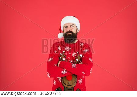 Tradition Concept. Winter Holidays. Man Bearded Hipster Wear Winter Knitted Hat. Barbershop Facial H