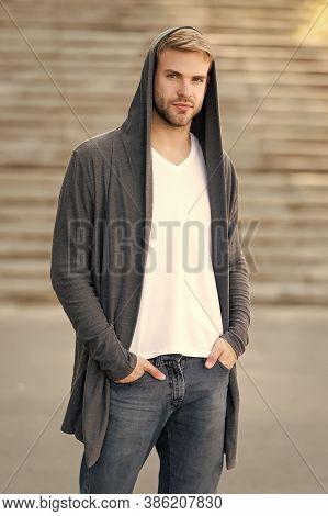 Dangerously Handsome. Man In Hood. Hooligan Wear Hoodie. Looking Like Thief In Hooded Cardigan. Casu