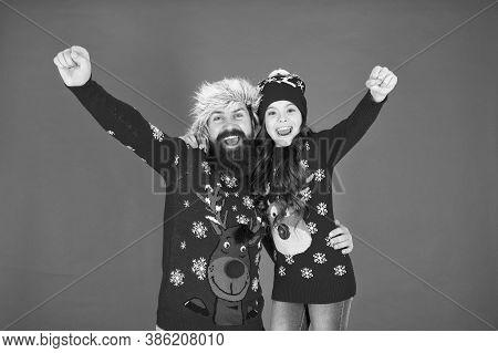 Happy Family Hug. Bearded Man And Kid. Family Celebrate Holiday. Family Tradition. Merry Christmas.