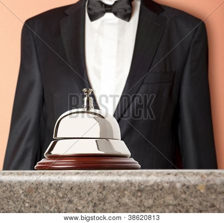 Hotel Concierge.  Service bell at the hotel