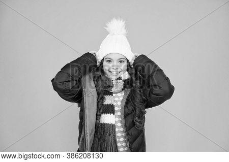 Cold Season Shopping. Child In Padded Warm Coat. Seasonal Fashion. Happy Winter Holidays. Fashion Gi