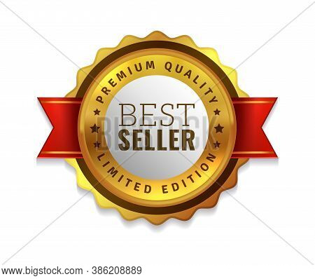 Best Seller Badge. Premium Golden Emblem, Luxury Genuine And Highest Quality Product Badge, Gold Sal