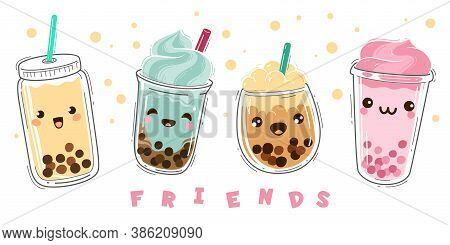 Bubble Tea. Popular Milk Tea With Tapioca, Modern Taiwanese Pearl Liquid Dessert With Balls, Soft Bo