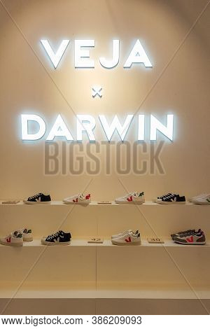 Bordeaux , Aquitaine / France - 09 15 2020 : Veja Sneakers Show In Bordeaux Darwin Store With Produc