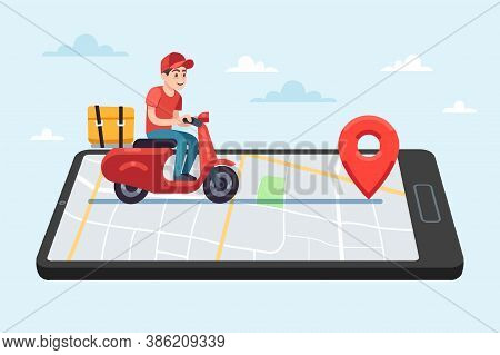 Online Food Delivery Service. Motorcyclist Courier On Moped With Box On Smartphone With City Map On