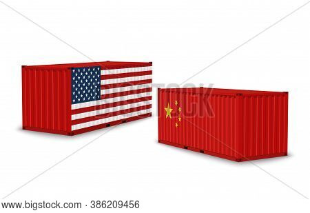 China Usa Trade War. Realistic Cargo Containers With Country Flags, Shipping Freight, International