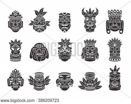 Idol Mask. Black Silhouette Ritual Totem Tribal God Tiki Ancient Indian Or African Culture, Traditio