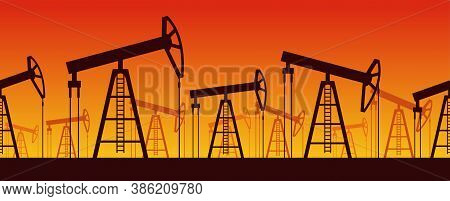 Oil Production Seamless Pattern - Oil Derrick Silhouettes - Petroleum Industry Illustration