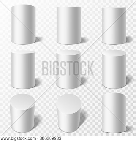 Cylinders. Realistic Round White Podiums In Different Viewpoints. Pedestals Or Cylinder Pillars With