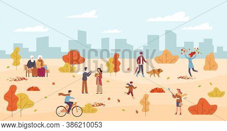 People In Autumn Park. Men And Women Walk In Public Park, Rest On Bench, Child Runs, Characters With