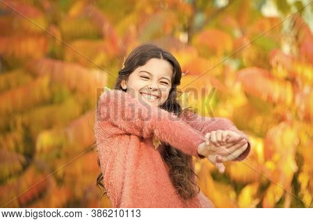October Makes The Landscape Radiant. Happy Small Girl Enjoy Fresh Air On October Day. Little Child P