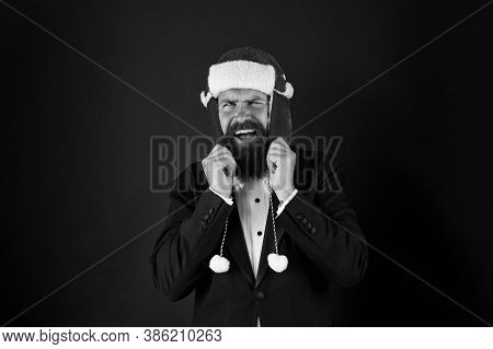 Businessman Santa In Jacket. Christmas Party Concept. Feeling Warmth. Funny Winter Hat. Business San