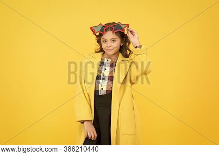 School Done Have Your Fun. Little Child Wear Party Glasses For Fun. Small Girl Have Fun With School