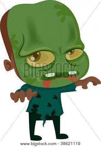 Halloween-Abbildung, die ein Kind mit gekleidet wie ein Zombie, wandern ziellos