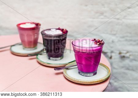 Glasses Of Super Lattes Such Pink Matcha Made From Nut Milk And Organic Pink Pitaya Or Dragon Fruit