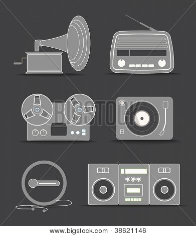 Digital and analogue music players icons