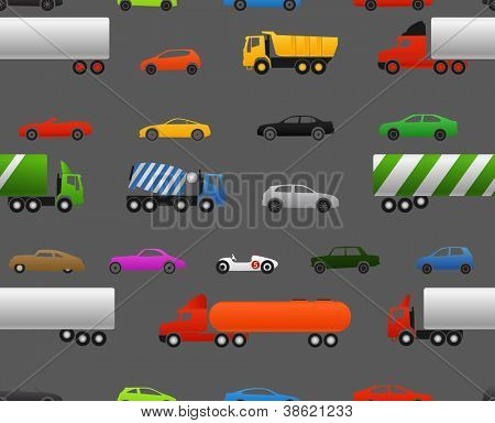 Modern and vintage cars and trucks seamless baclground