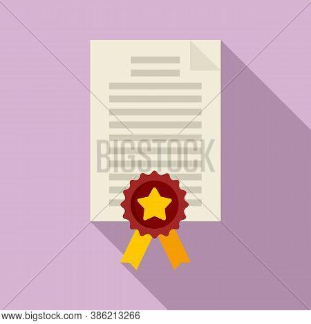 Diploma Reputation Icon. Flat Illustration Of Diploma Reputation Vector Icon For Web Design