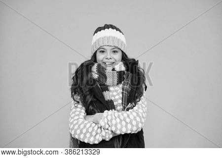 Happy Childhood. Cold Weather. Child In Woolen Knitted Hat. Kids Tend To Feel Cold More Than Adults.