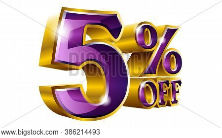 Vector 5% Off - Five Percent Off Discount Gold And Purple Sign.